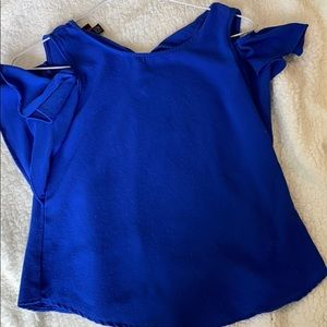 Royal blue ruffle off the shoulder top (girls)